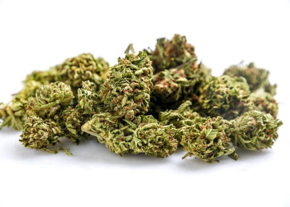Heap of Organic Cannabis on white background no thc cbd -1% certified in the EU